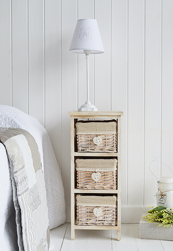 Narrow bedside table 25cm