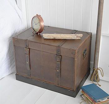 Vintage trunk bedside table for storage of clothes, blankets