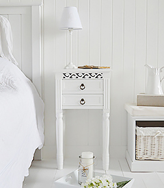 Simple white coastal beach furniture, the New England lamp table with 2 drawers