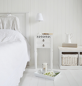 White bedside table with drawers