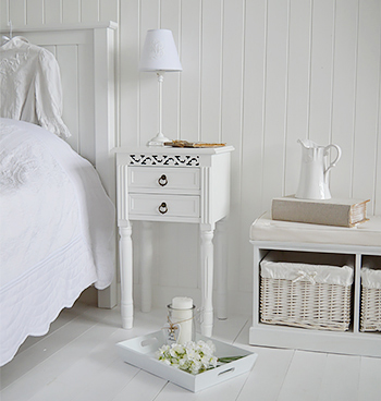 White bedside table from The New England Range from The White Lighthouse White Bedroom Furniture Pieces