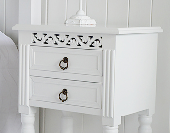 White bedside table drawers