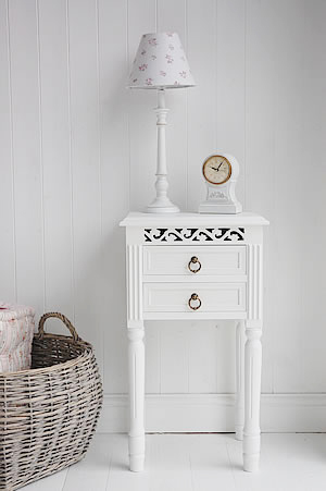 New England bedside table with 2 drawers and antique brass handles