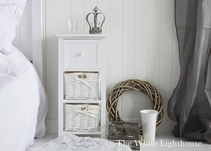 Bar Harbour large bedside table with 2 baskets and a drawer for simple and affordable white bedroom furniture