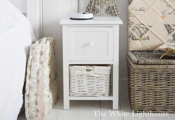 Bar Harbor Small White Bedside Table The White Lighthouse