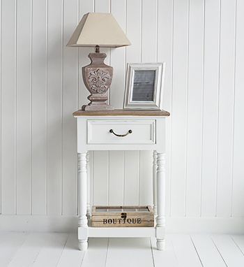 Brittany Small White Hall table with drawer and shelf