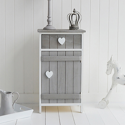 Maine white bedside cabinet with  three drawers for New England styled bedroom