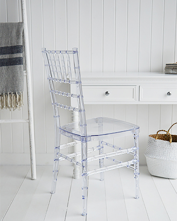 Clear dressing table chair for all styles of bedroom decor