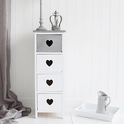Heart Cottage narrow chest of drawers in grey and white for bedrooms