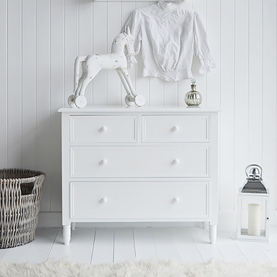 New England simple white chest of drawers for a pure white bedroom