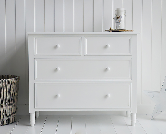 Simple white chest of drawers delivered assembled from The New England range