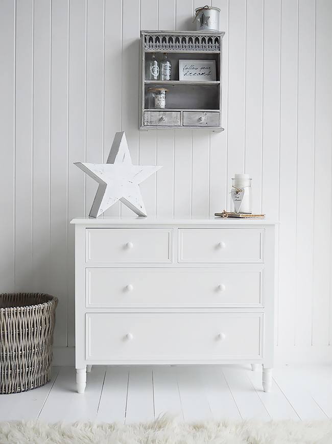 White New England chest of draws. Simple and plain in design, delivered already built