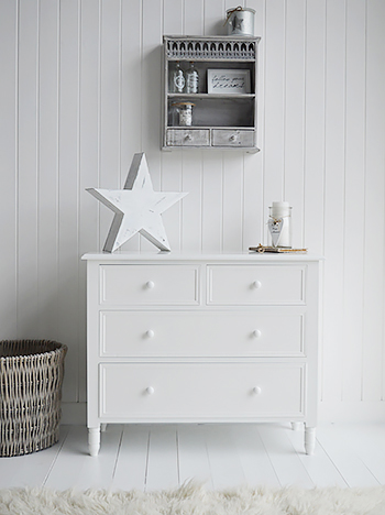 Scandinavian white bedroom furniture, chest of drawers
