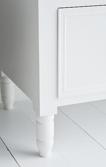 Satin painted easy clean finish of white new england drawers