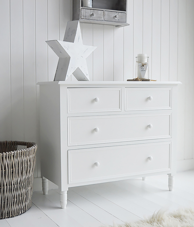 White Bedroom Furniture, New England simple plian white chest of drawers, delivered built