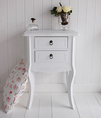 Daisy White Bedside Table With 2 Drawers Bedroom Furniture