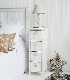 Dorset 25cm white narrow storage furniture, ideal white bedside table for New England Coastal and Country Cottage Interior styles