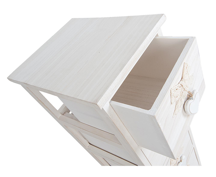 Dorset slim narrow white bedside table with 4 drawers, 25cm wide will fit into narrow spaces