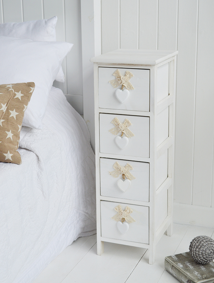 Dorset narrow bedside table 25cm wide with 4 drawers for white bedroom furniture for country interior design