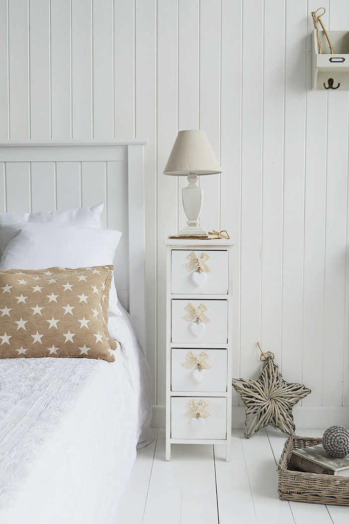Dorset narrow bedside table 25cm wide with 4 drawers for white bedroom furniture in coastal interiors