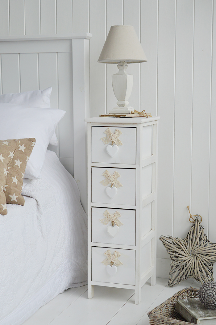 Dorset narrow bedside table 25cm wide with 4 drawers for white bedroom furniture in coastal interior design