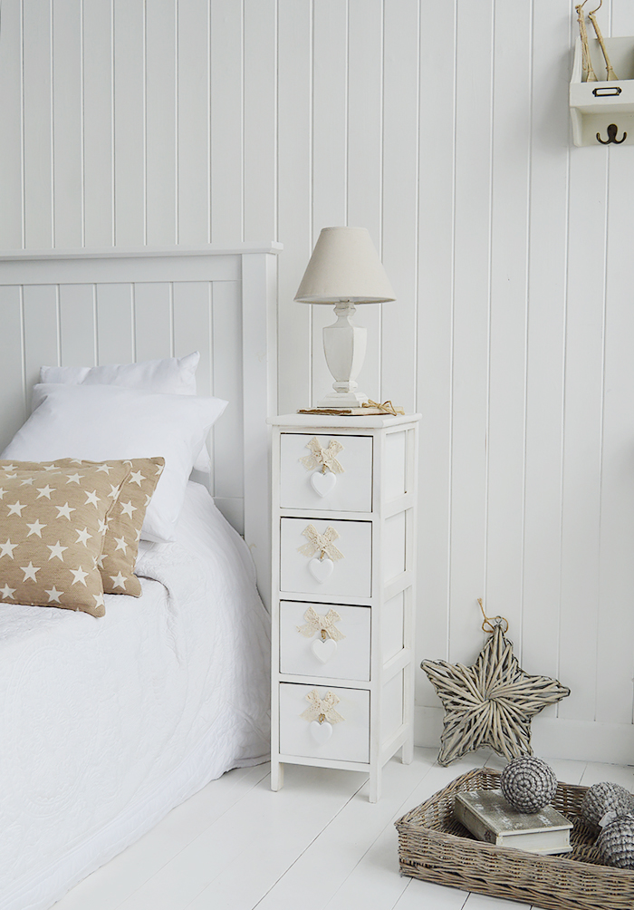 Dorset narrow bedside table 25cm wide with 4 drawers for white bedroom furniture