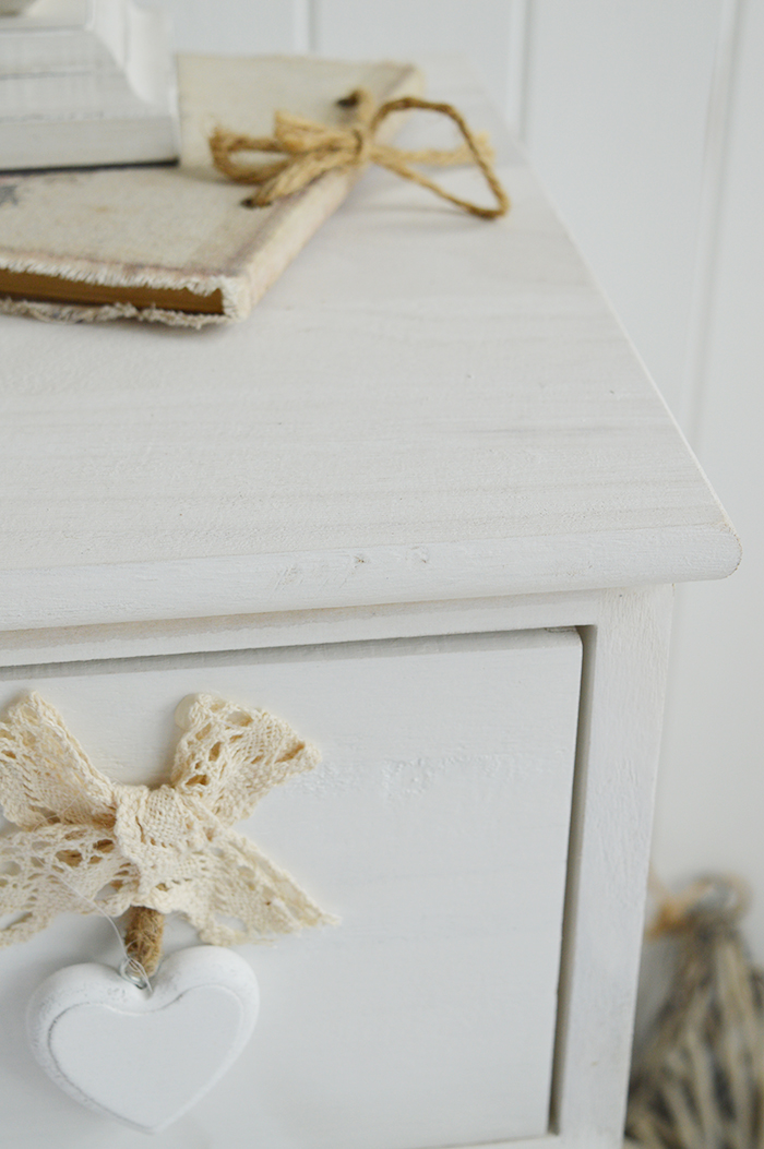 Dorset narrow bedside table 25cm wide with 4 drawers for white bedroom furniture in white wash