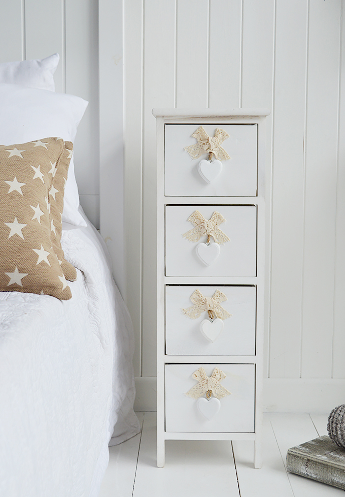 Dorset narrow bedside table 25cm wide with 4 drawers for white bedroom furniture for country interiors