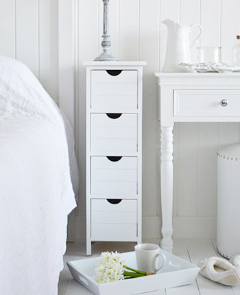 Dorset narrow white 25 cm wide slim 4 drawers bedside table
