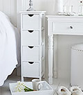Dorset narrow bedside table white 25 cm wide slim with 4 drawers, ideal for smaller bedrooms in London when space is at a premium