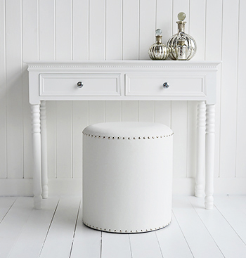 White dressing table with our white and silver studded stool. A perfect combination for a luxury bedroom