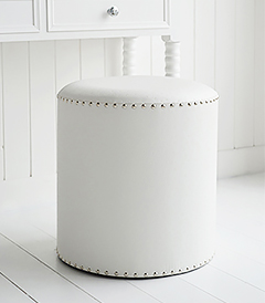 White stool with silver studs, ideal as a dressing table stool for all types of white bedroom frurniture in both country and coastal homes and interiors