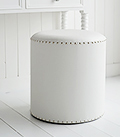 Round white dressing table stool
