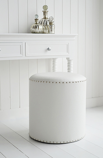 White and silver studded dressing table stool for UK delivery