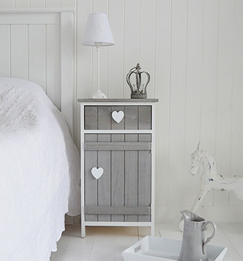 Heart cottage grey and white bedside cabinet bedroom - White heart bedroom furniture ...