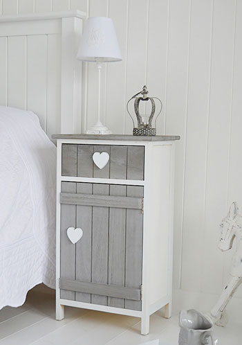 Heart cottage grey and white bedside cabinet bedroom for White bedroom cabinet