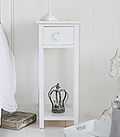 Heart Cottage white narrow bedside table with drawer and shelf