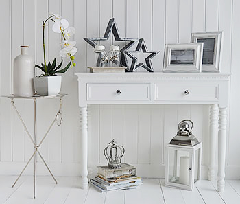 Kensington silver bedside table White and silver bedroom furniture