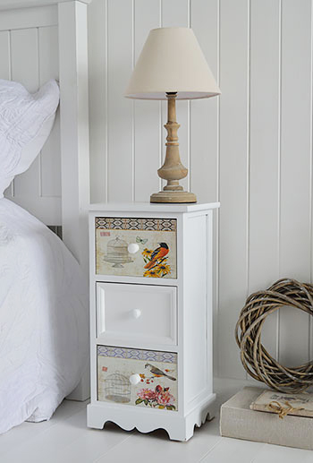 Kingston White Three Drawer Lamp Bedside Table With Drawers