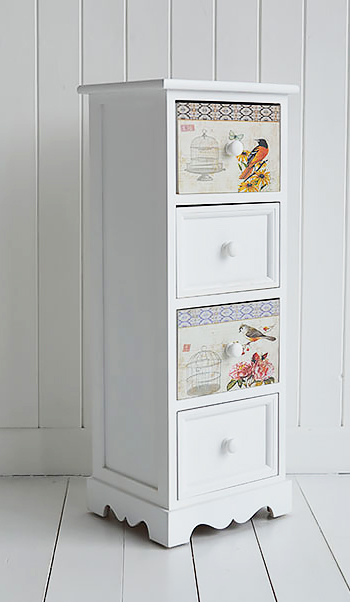 Kingston White Four Drawer Lamp Table Narrow Chest Of Drawers