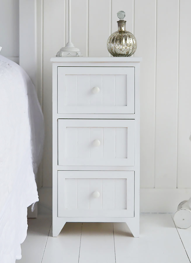 Maine white wooden bedside table with 3 drawers for storage for white bedroom furniture
