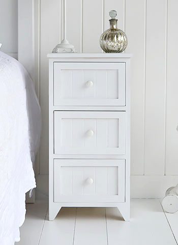 maine white bedside table with 3 drawers