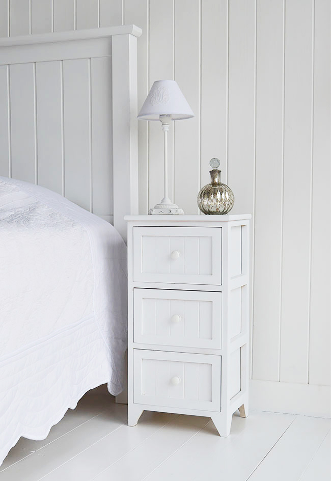 Maone white bedside table for New England coastal interiors