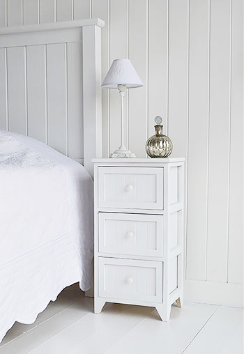 White Furniture Company Bedroom Set: Maine White Bedside Table. New England White Bedroom Furniture
