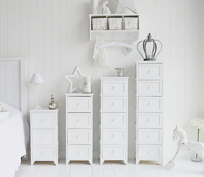 Maine range of white bedroom furniture storage units in sizes with 3 drawers, 4,5 and a tall 6 drawer