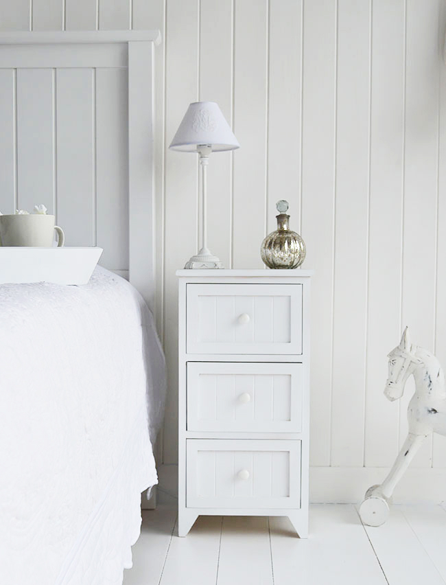 Maine White Bedside table with 3 drawers. Other sizes available in Maine White Bedroom Storage Furniture