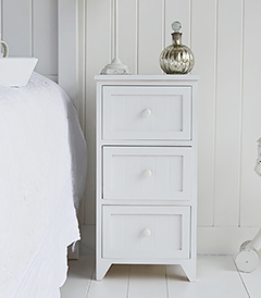 New England Maine 3 drawer bedside table. Budget range of simple but stylish white bedroom coastal furniture