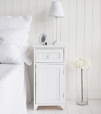 Maine white bedside cabinet with drawer and cupboard. New England style furniture for the bedroom