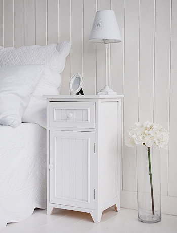 side photograph of the Maine white bedside cabinet. White New England bedroom furniture