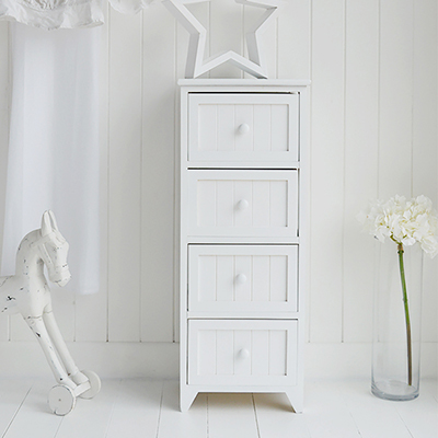Maine 4 drawer white narrow chest of drawers for simple white bedroom furniture